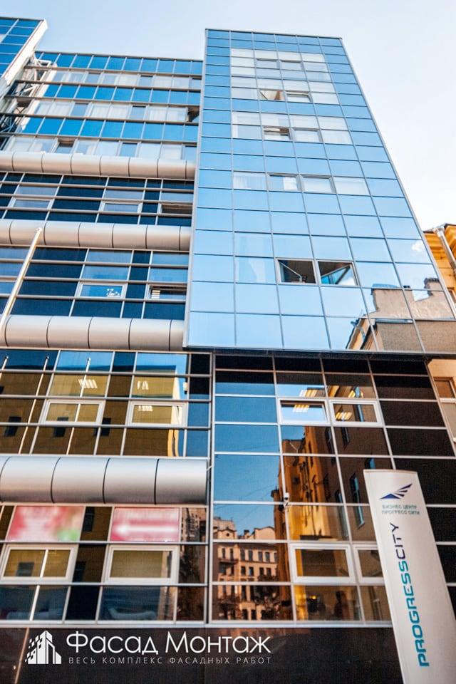 Бизнес-центр Прогресс Сити фасадные работы