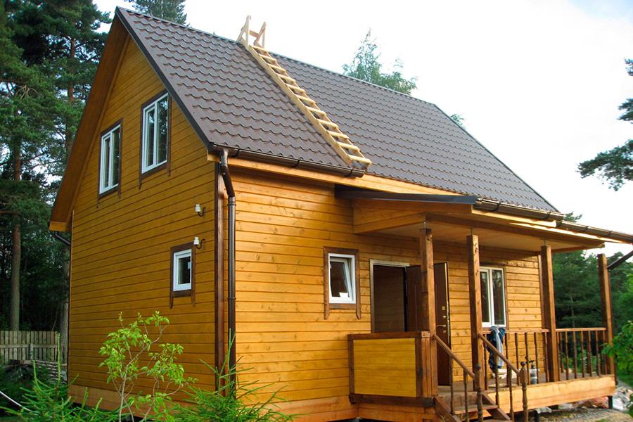 Облицовка фасада каркасного дома - имитация под брус - фото 3