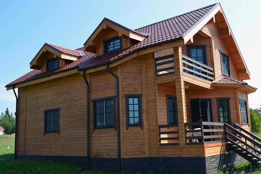 Облицовка фасада каркасного дома - имитация под брус - фото 4