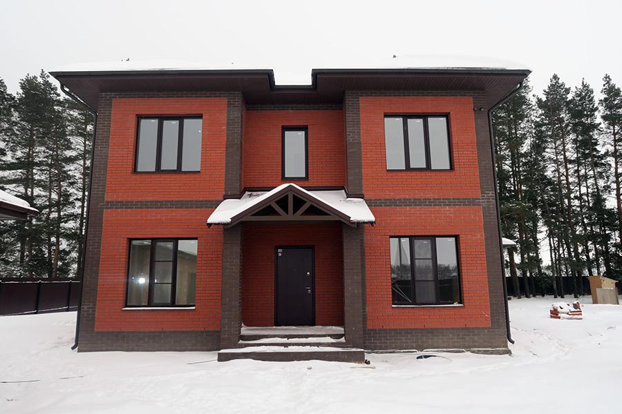 Отделка фасада каркасного дома - облицовка кирпичом - фото 2