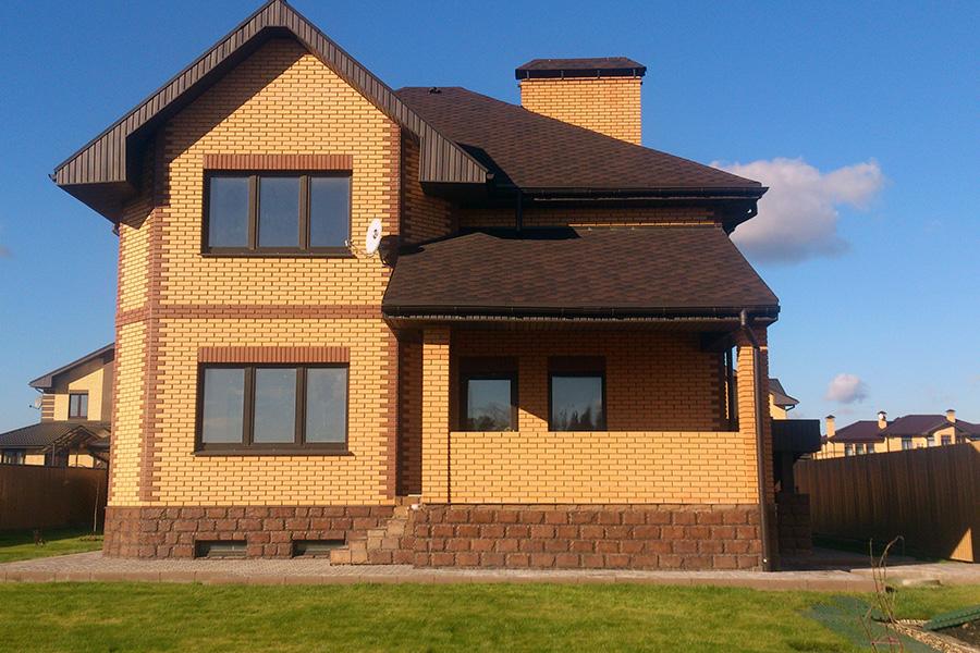 Отделка фасада каркасного дома - облицовка кирпичом - фото 3