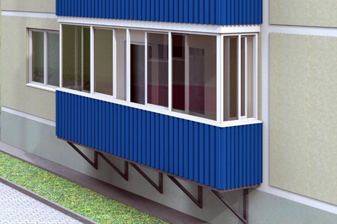 Внешняя отделка балкона профнастилом