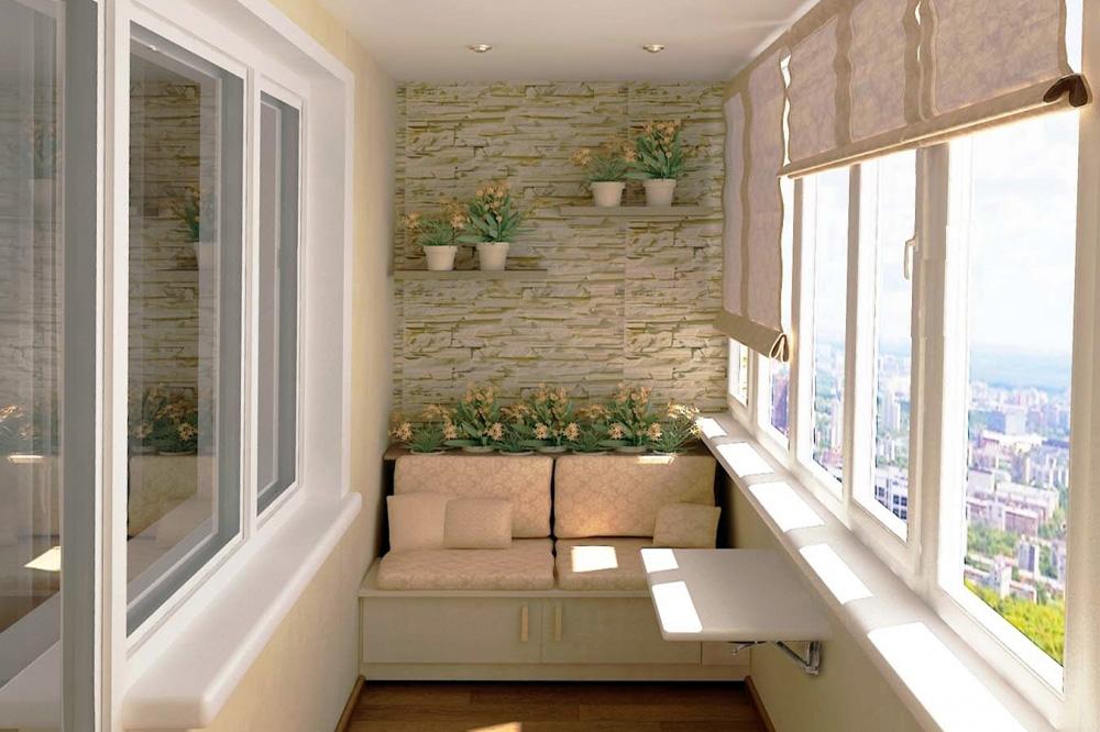Внутренняя отделка балкона декоративным камнем